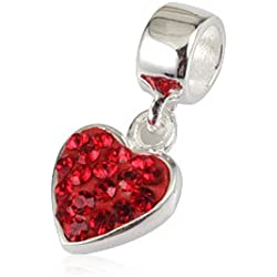 Ollia Jewelry 925 Sterling Silver Dangle Beads My Heart Swayed in Your Breeze Charm with Austrian Crystals Heart Love Charms (red)