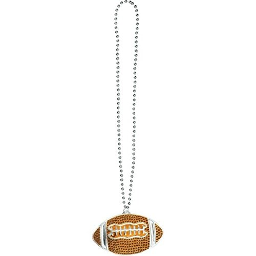 Amscan Football Pendant Bead Necklace, Party Favor -