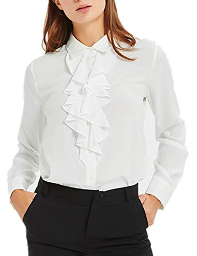 ACONIYA Women's Vintage Long Sleeve Lotus Ruffled Casual Work Shirt Blouse ()