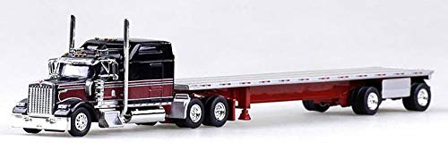 Kenworth W-900L Truck (Black, Maroon) with 48' Spread Axle Flatbed Trailer (Red) Scale 1:87 (HO Scale) Model