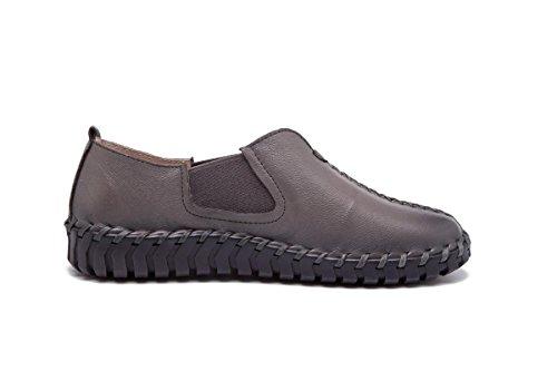 véritable gray unies lacets cuir Chaussures Dames de appartements Pommes paresseuses Chaussures Nouveaux terre à de Chaussures cuite Femmes R7SxqAn