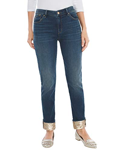 - Chico's Women's Sequined Cuff Boyfriend Ankle Jeans Size 20 XXL (4 REG) Denim
