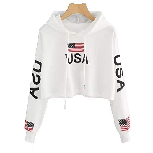IUtan Women Funny CropDrop Shoulder American Flag Print Tops Hoodie Sweatshirt at Amazon Womens Clothing store: