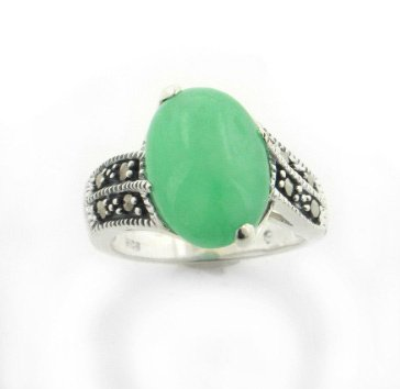 Large Genuine Green Jade and Marcasite Deco Style Sterling Silver Band Ring Sizes 6,7,8,9