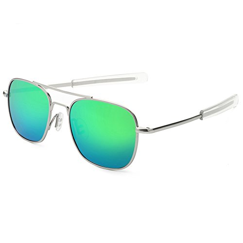 WELUK Men's Pilot Aviator Sunglasses Polarized 55mm Military Style with Bayonet Temples (Silver/Green, 55)