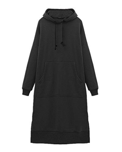 Invernale Sportiva Styledome Autunno Donna Nero Casual Cappuccio Moda Felpe Pullover Lunga Tasca Con Elegante Manica SaxpqXxw
