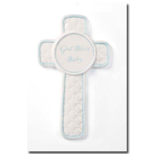 Heaven's Blessings Porcelain God Bless Baby Plaque - Blue