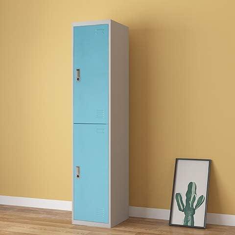 Panana Sky Blue 180cm Tall Metal Lockable Gym Workshop Key Cabinet Storage Cabinet School Office Cupboard 2 Door