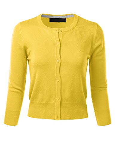 FLORIA Women's Crew Neck Button Down 3/4 Sleeve Stretchy Knit Cardigan Sweater BABYYELLOW M ()