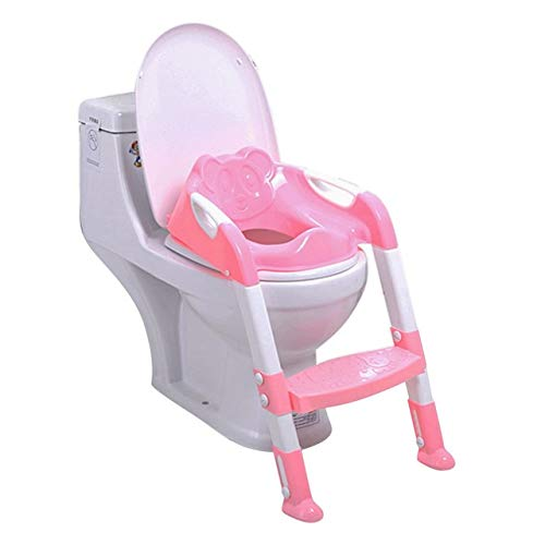 Toddler Training Toilet Chair,Folding Toilet Training Seat with Adjustable Ladder,Safety Handle, Non-Slip Mat (Pink) ()