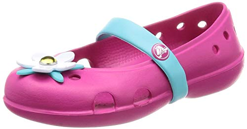 Crocs Girls' Keeley Charm Flat Ballet, Candy Pink, 11 M US Little Kid