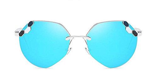 vintage rond style en polarisées Bleu du inspirées de Glacier lunettes métallique cercle Lennon retro soleil CwX0qS7