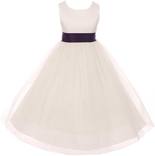 Big Girl Sleeveless Customizable Sash Big Bow Wedding Flower Girl Dress USA Eggplant 10 KD 411 IV ()