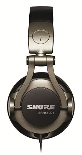 Shure SRH550DJ Professional Quality DJ Headphones (Smokey Grey) (Renewed)