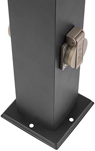 Grafner XL Wegeleuchte mit 2 Steckdosen, Höhe: 80 cm, Aluminium, E27, schwarz anthrazit, Wegleuchte Weglampe Gartenlampe Gartenleuchte Standlampe Außenstandleuchte Pollerleuchte