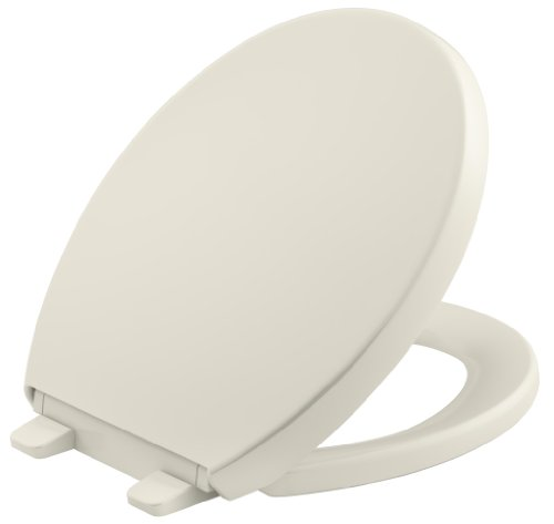 KOHLER K-4009-96 Reveal Quiet-Close with Grip-Tight Bumpers Round-front Toilet Seat, Biscuit