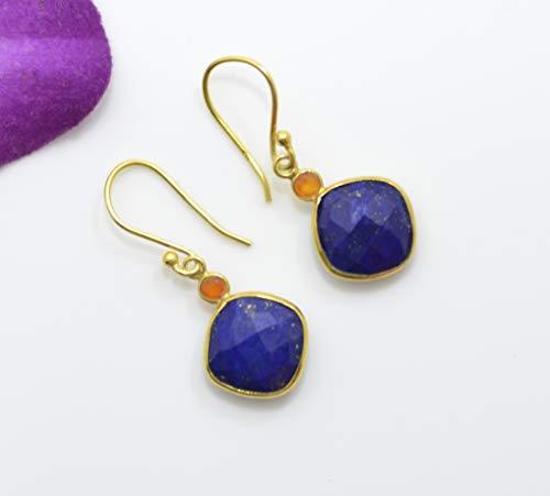 Square Lapis Lazuli Gold Plated Earring Silver 925, Round Carnelian Vermeil, Dark Blue Orange Multi Gemstone Statement, Boho, Berlin Jewellz