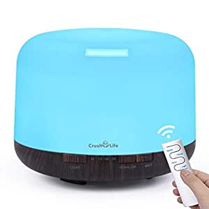 Oil Diffuser, 500ml Remote Control Essential Oil Diffuser,Crush on Life Wood Grain Large Capacity Aromatherapy Diffuser, Cool Mist Ultrasonic Diffuser Humidifier Aroma Diffuser with 7 Color LED Changing Lights Waterless Auto Shut-off for Bedroom Office Home Baby Room Yoga (Black)