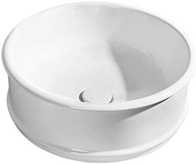 DS- ラウンド浴室洗面台、カウンタ流域技術バニティ単一流域(タップなし)、利用可能な2つのサイズ上記セラミックシンク 洗面ボール && (Size : 45X45X17cm)