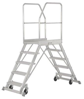 Hymer Podesttreppe fahrbar, beidseitig begehbar, Podestgröße 600x800 mm, 2x5 Stufen, Standhöhe 1,20 m, Gewicht 44,1 kg
