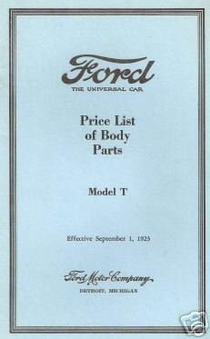 Ford Price List of Body Parts Model T Effective September 1 1923 pdf epub