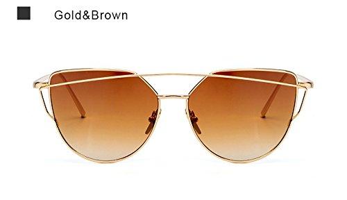 Ojo de de Marrón gafas sol Espejo piloto de oro Vintage rosa mujer oro UV400 Aviación ZHANGYUSEN Moda sol Gafas metal mujer para bastidor de Gato damas de S6wxP7Zq