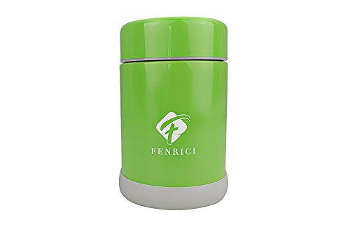 - Fenrici Thermos Kids [10 oz] | No Plastic Contact Hot Food | Hot Cold Food Lunch Container Kids | BPA-Free, Double-Wall, Durable Stainless Steel Vacuum Insulated Food Jar | Green