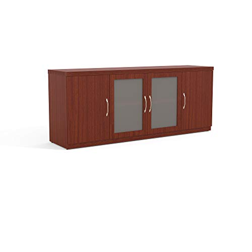 Mayline ALCLCR Aberdeen Low Wall Cabinet with 2 Glass and 2 Wood Doors, Cherry Tf