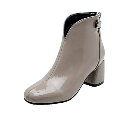BalaMasa Womens ABS13949 Huarache Closed-Toe Closed-Toe Gray Pu Boots - 2 UK (Lable:33)