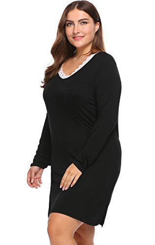 ac15b1066a Involand Women s Plus Size Split Nightgown Lace V-Neck Long Sleeve  Sleepwear Knit Jersey Sleepshirt