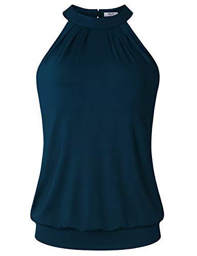 (Diphi LiLi Feminine Funny Activewear Exercise Tank Tops for Women Basic Solid Sleeveless Scoop Neck Rounded Hem Drape Tunic Work Out Racerback Tank Turquoise X-Large)