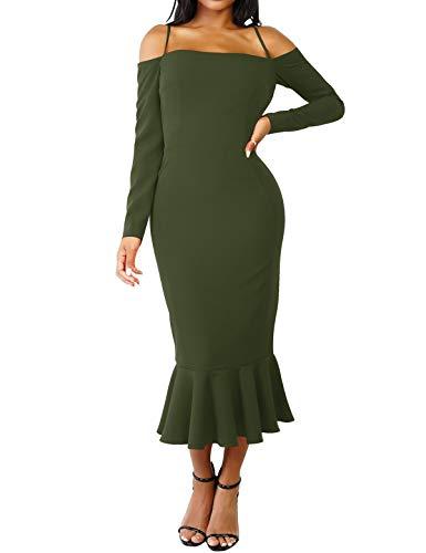 Del Donne Di Partito Verde Delle Sera Lunga Randello Manica Sexy Militare Spalla Volant Fredda Bodycon Cxins Elegante Solido Midi Vestito zHvw6