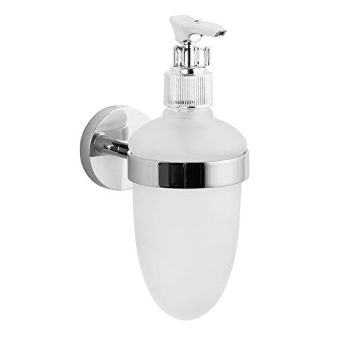 Maykke Nob Hill Frosted Glass Liquid Soap Dispenser Pump with Solid Brass Wall Mount | Modern Space-Saving Bathroom Vanity, Lavatory, Kitchen Countertop Accessory | Polished Chrome, AHA1000501