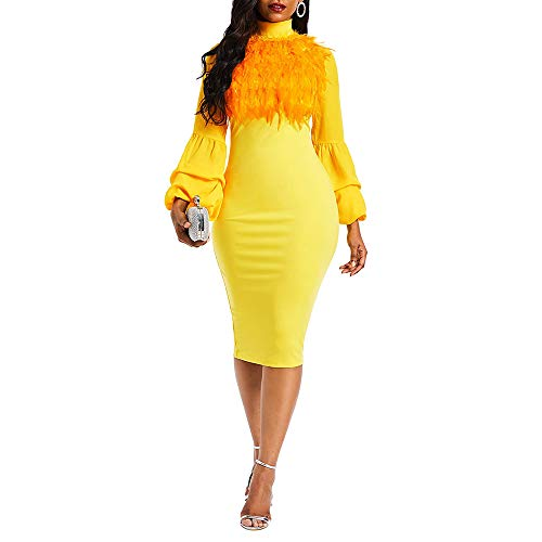VERWIN Fur Collar Lantern Sleeve Bodycon Dress Feather Midi Dress Party Cocktail Evening Dress Yellow M -
