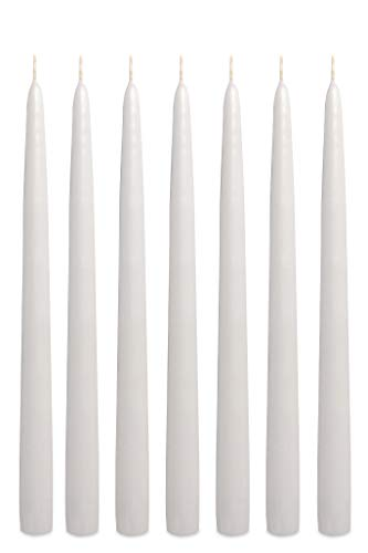 Taper Unscented Candles Dipped - White Taper Candles 12 Inch Tall Unscented Elegant Premium Quality Dripless Smokeless Hand-Dipped - Set of 12 - for Holiday Decoration Wedding Dinner Table Birthday Made in USA