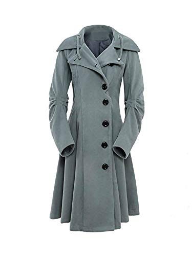 AUSZOSLT Womens Hooded Button Closure Asymmetrical Winter Long Trench Jackets Coat Grey 3XL