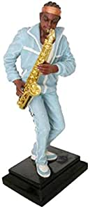 Musician Statue Sky blue Gold Small.
