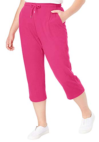 Woman Within Women's Plus Size Sport Knit Capri Pant - Raspberry Sorbet, 1X