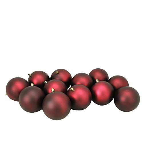 12ct Burgundy Red Shatterproof Matte Christmas Ball Ornaments 4