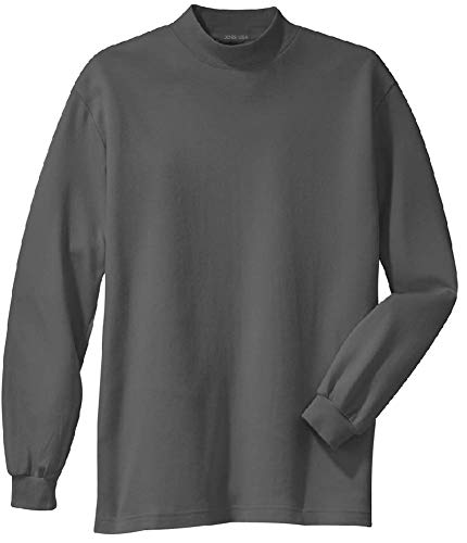 - Joe's USA - Men's Interlock Knit Mock Turtleneck in Size L Steel Grey