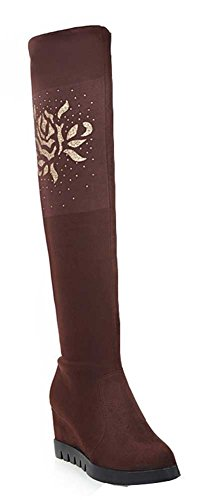 CHFSO Womens Winter Comfy Solid Suede Floral Round Toe High Wedge Heel Knee High Boots Brown