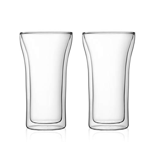 Bodum Assam Double Wall Glass, Set of 2, 0.4 l, 13.5 oz., Clear