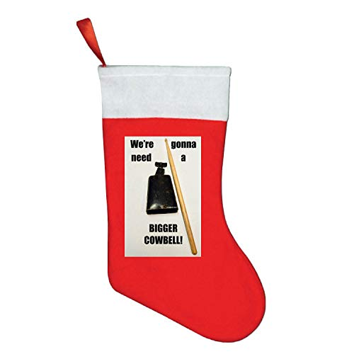 Need A Bigger Cowbell Christmas Stocking, Xmas Fur Cuff Christmas Decorations and Party Accessory -