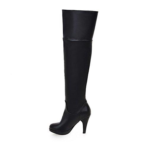 Bottes Aiguilles Mode Chaussures Avec Sexy Chaud Et Noir Plateforme En Fourrure Genoux À Noires Talons Frange Haut Femmes Uh ZqzwEE