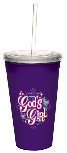 Tree-Free Greetings cc34371 God's Girl: Mark 10:14 Artful Traveler Double-Walled Cool Cup with Reusable Straw, 16-Ounce