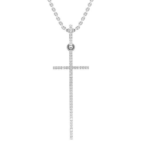 0.08 Carat (ctw) 14K White Gold Round Diamond Ladies Religious Cross Pendant With Silver Chain