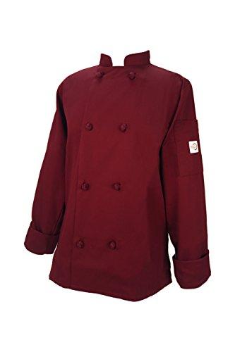 Jacket Knots - Mercer Culinary Millennia Women's Cook Jacket with Cloth Knot Buttons, Medium, Burgundy