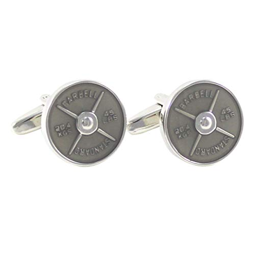 (MENDEPOT Novelty Silver Tone 45LBS Standard Barbell Cuff Links with Gift Box)