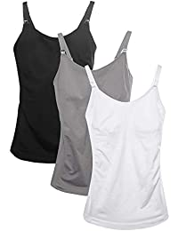 Women's Breast Feeding Tops,Maternity Nursing Cami with Build in Shelf Bra