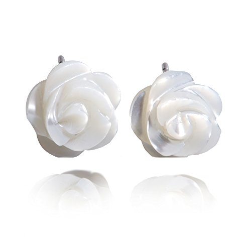 S.Leaf Sterling Silver Cherry Earrings Pearl Stud Earrings Camellia Earrings Flower Ear Studs (Mother Of Pearl Rose Earrings)